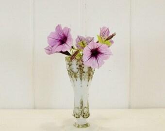 Vintage Milk Glass Vase, Petite Green and White Vase, Delicate Glass Vase, Patina