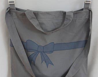 Stroller organic cotton - pattern bow - grey shoulder bag