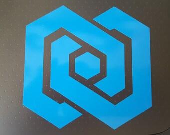 "1 3.7"" Westworld Delos Infinity logo (asst colors) Vinyl Decal Sticker Oracal/Avalon"