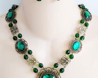 Renaissance Necklace, Earrings, Medieval Necklace, Tudor, Medieval Jewelry, Renaissance Jewelry, Game of Thrones, Green Jewels, Ready 2 Ship