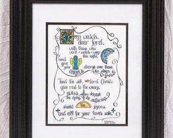 Framed Calligraphy: Keep watch, dear Lord Prayer by St. Augustine