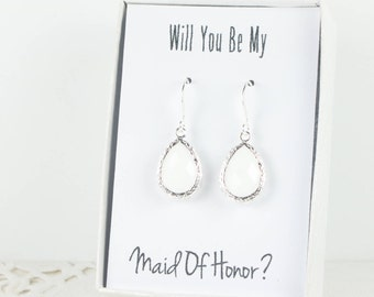 White Silver Teardrop Earrings, Silver White Earrings, Bridesmaid Gift, White Wedding Jewelry, Bridesmaid Earrings, Bridesmaid Jewelry