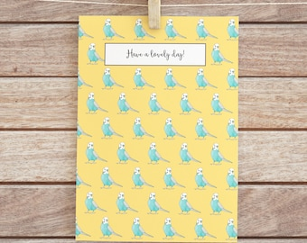 Cute Note Card, Budgie Stationery, Colourful Card