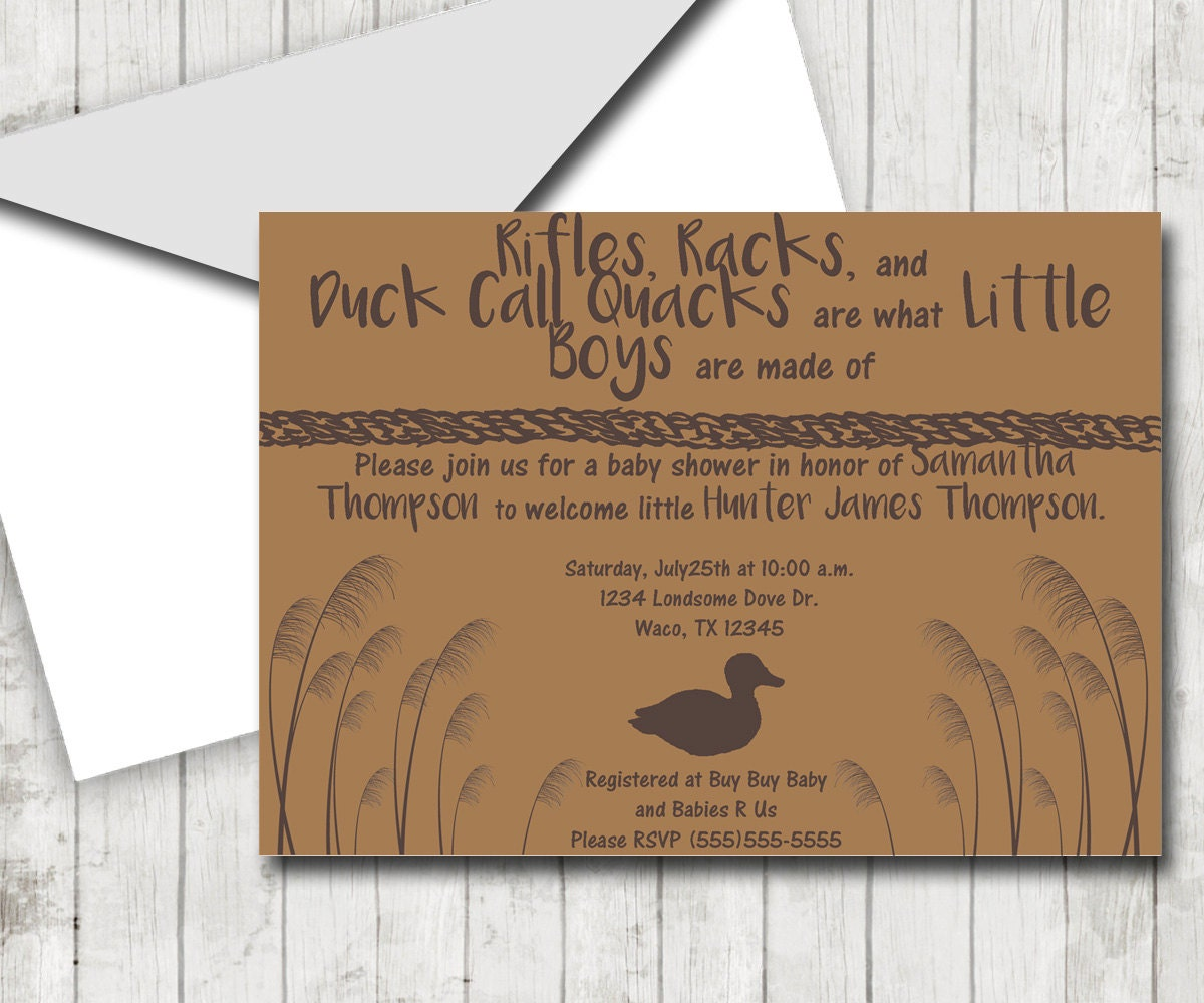 Duck Hunting Theme DIY Shower Baby Shower Invitation