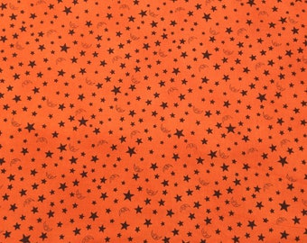 RJR Halloween Collection Witching Hour Orange bkg, Black Moons and Stars 1 Yard