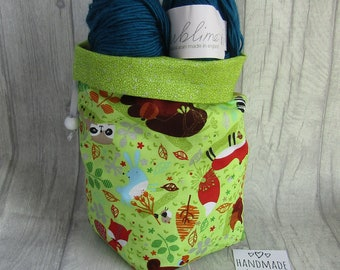 Woodland Creatures Knitting Project Bag, Crochet Bag, dice bag, sock project bag, wip bag, drawsting bag, crochet, weaving, embroidery,