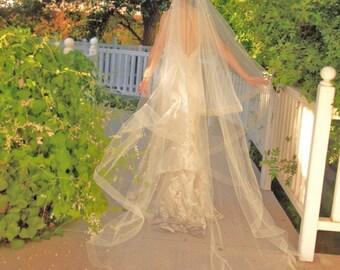 SALE! Cathedral Circle Cut Wedding Veil - Drop Veil  With Sheer Organza Ribbon Edge - Rose Gold, Champagne, Blush Veil- Naples