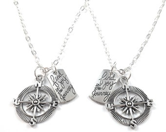 Compass best friend necklace, gift for best friend, inspirational necklace, bff necklace set, nautical jewelry