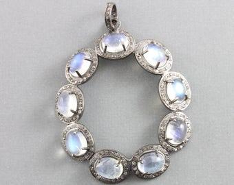 Pave Diamond Pendant, Pave Rainbow Fancy Moonstone Pendant, Pave Moonstone , Diamond Moonstone Necklace, Oxidized Silver.(DCH/PDT/1206)