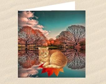 Cat, cat greeting card, cat art: the colors of autumn