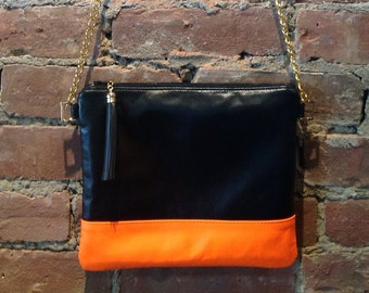 Leather Cross Body Bag,  Leather Handbag, Leather Bag, Neon Bag
