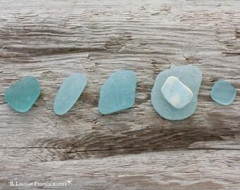 Beach Glass Photography - Sea Glass Photograph - Fine Art Photography Print - Blue Tan Home Decor