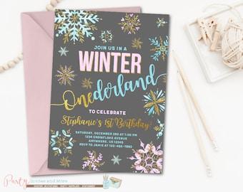 Winter Birthday Invitation, Winter ONEderland Birthday Invitation, Snowflake Birthday Invitation, Snowflake Invitation, First Birthday