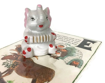 Vintage Ceramic Elephant Figurine with Accordion // Nursey Decor // Circus Animal // Baby Gift // Elephant Collection