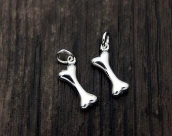 4 Sterling Silver Bone Charm Pendant, Dog Bone Charm Pendant, Dog Charm, Pet Charms