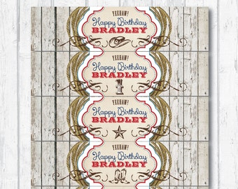COWBOY Birthday Party PRINTABLE Water Bottle Labels  --  Downloadable digital file