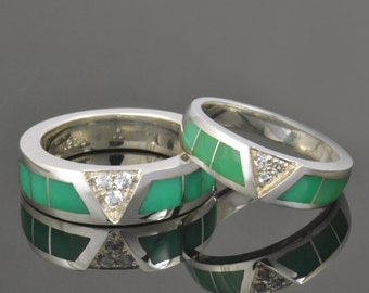His and Hers Chrysoprase Wedding Ring Set With White Sapphires Set in Sterling Silver
