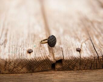 SMALL black ring, Adjustable large ring, Black round ring, Adjustable ring, Gold adjustable ring, Black & gold ring, Black ring, Round ring
