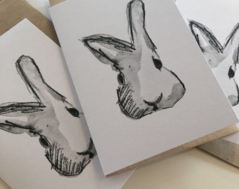 Rabbit/Bunny cards pack of five with envelopes from original watercolour