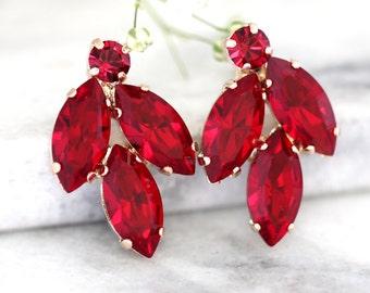 Ruby Earrings, Ruby Red Earrings, Bridal Ruby Earrings, Swarovski Ruby Earrings, Bridesmaids Earrings,Cluster Ruby Earrings, Ruby Jewelry
