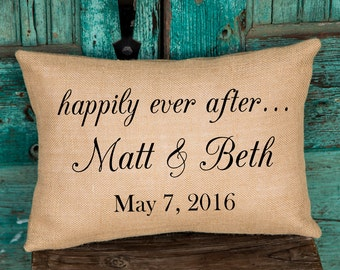 Happily Ever After Pillow, Engagement, Wedding or Anniversary Gift, Personalized WEDDING Gift, BURLAP PILLOW Cover