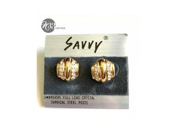 Vintage, Swarovski, crystal, Savvy, post earrings, gold plated, post earrings, surgical steel posts from Austria