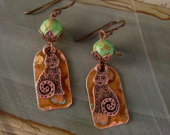 Crazy Cat Lady - Vintage Anodized Copper Smirky Copper Cats Agate Beads Niobium Recycled Repurposed Cat Lover Steampunk Earrings