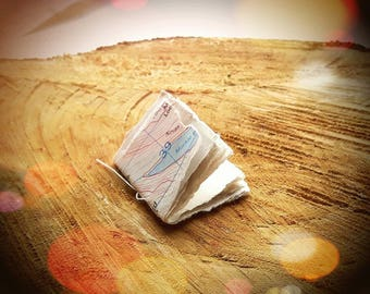 Tiny Map Book - Handmade Stitched Recycled Scrap Art Paper Old Maps Notebook Miniature