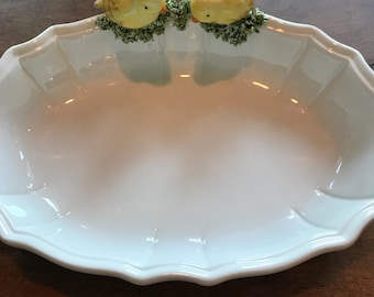 Seymour Mann Aviary Collection Decorative Serving Dish | Hand Painted | Bird | Easter | Spring | Sunday Dinner | Display |