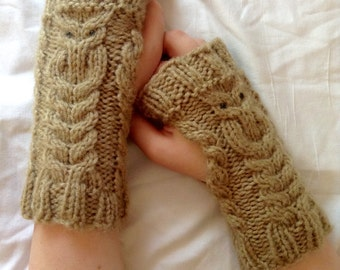 PATTERN- Fowl Weather Fingerless Owl Glove Knitting Pattern