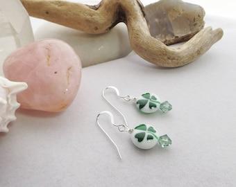 Shamrock Beaded Earrings, Green & White Earrings, Drop Earrings, Handmade Dangle Earrings, St. Patrick's Day Jewelry, Celtic Jewelry, Boho