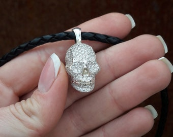 Silver 925 skull pendant, human skull necklace, exclusive design handcrafted