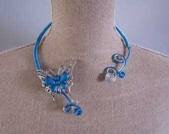 CLEARANCE necklace aluminum silver and turquoise