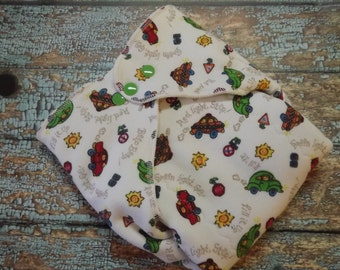 Organic Cotton Winged Prefold-- Cars and Traffic Signs Cloth Diaper Sized