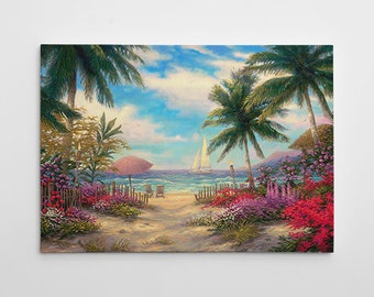 "Beach Tropical Painting, Palm Tree Canvas Art, Large Paradise Painting, Carribbean Wall Art, ""Sea Breeze Path"" by Chuck Pinson-3748-GW"