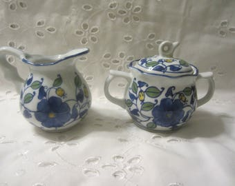 Gryphonware Creamer and Sugar with Lid White Background with Blue Floral Design Scalloped Tops