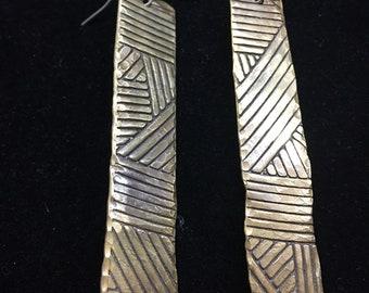 Egyptian Inspired Brass Stamped Earrings