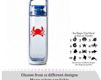 Sea Shapes Decals - Vinyl Decals - Yeti Decals - iPhone Decals - Sea Animals Decals OR Sea Shapes Iron-on - Sea Animals Iron-on - Iron-on