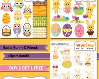 Easter clipart sale bundle / bunnies, Easter basket, egg clip art, cute bunny digital images / commercial use, instant download