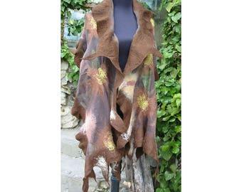 Nuno Felt Wrap Shawl,Fiber Art,Autumn  Colors Wrap,Nuno Felt Shawl, Wrap Shawl,Picture Shawl,Felt Capelet,Cape