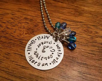 Family necklace, personalized necklace, stamped family necklace, family names, custom family charm, mom gift, family gift, family pendant,