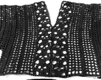 PDF    Sizex S to 3x Crochet Pattern Only   Creepy Skull Kimono Sleeve Top
