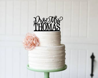 Wedding Cake Topper, Personalized Cake Topper for Wedding, Custom Personalized Wedding Cake Topper, Dr and Mrs Cake Topper, Mr and Mrs