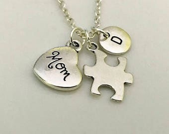 Autism Mom Necklace, Autism jewelry, Puzzle piece necklace, Autism Awareness jewelry, Autism Mom gift, Love someone with autism
