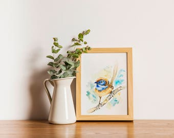 Print of Blue bird Watercolor Painting