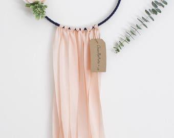 floral dreamcatcher, blush dream catcher, pink dreamcatcher, navy dreamcatcher, large dreamcatcher, peach, boho, feminine, nursery decor