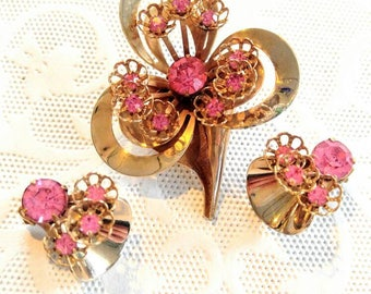 SALE-PRETTY Brooch and Earring Set-Vintage-Wrapped Gold with Pink Faceted Stones-Flowers-Tubes-Clip Ons-Rare-Lot-Shipping is Only .99c!!