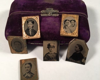 RESERVED - Do Not Buy - Miniature Tintype Photo Collection with Case, Group of Six(6) Gem Tintypes of Young Ladies, Original Collection
