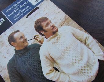 Fontana Knitting Patterns for Men's Aran Style Sweaters - 1214
