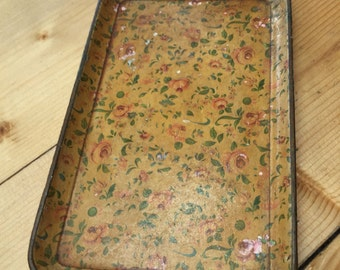 Vintage Tray, Yellow with Pink Rose Design, Aged and Weathered Jewellery Tray
